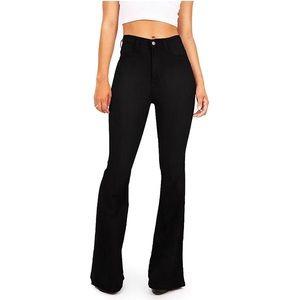 Women's Bell Bottom High Waist Fitted Denim Jeans